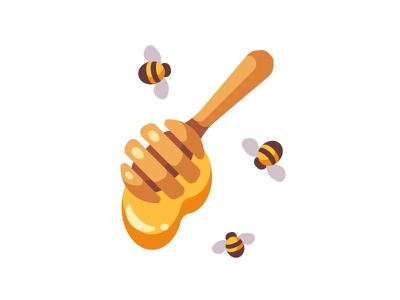 Honey propolis dipper spoon bee honey daily icon illustration vector design flat