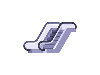 Escalator airport escalator elevator moving stairs ladder daily icon illustration vector design flat