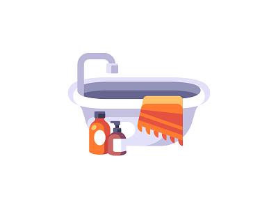 Bathtub wellness shower bathtub bath daily icon illustration vector design flat