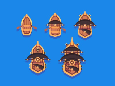 Ships ship pirate mobile game illustration vector flat design