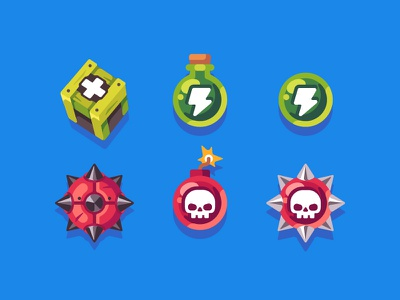 Power-ups power-up pirate mobile game illustration vector flat design