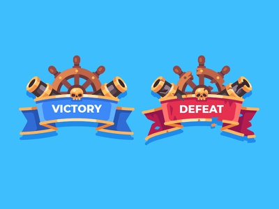Battle result pirate mobile game illustration vector flat design