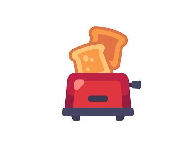 Toaster bread kitchen toaster daily icon illustration vector design flat