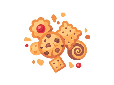 Cookies food cracker biscuit cookie daily icon illustration vector design flat