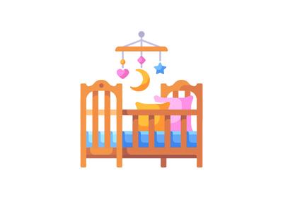 Crib cradle bed crib baby daily icon illustration vector design flat