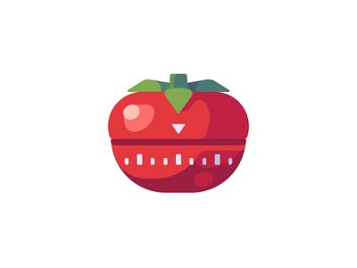 Kitchen timer pomodoro timer kitchen tomato daily icon illustration vector design flat