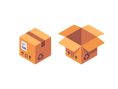 Parcel flat mail delivery box cardboard parcel daily icon illustration vector design