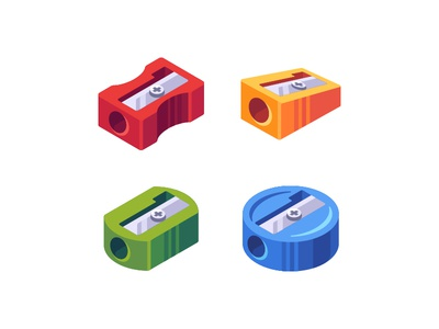Pencil sharpeners flat school pencil. sharpener daily icon illustration vector design