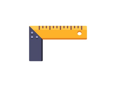 Ruler flat ruler angle construction daily icon illustration vector design