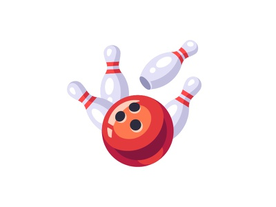Bowling flat sports game pin ball bowling daily icon illustration vector design