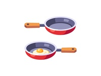 Frying pan cooking egg frying pan daily icon illustration vector design flat