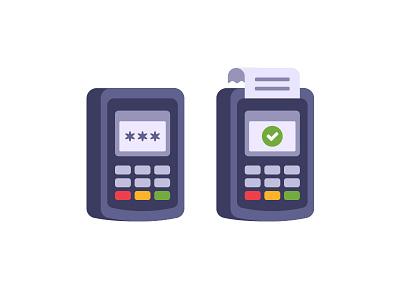 Bank terminal credit card bank terminal daily icon illustration vector design flat