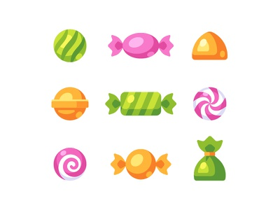 Candies dessert sweet candy daily icon illustration vector design flat