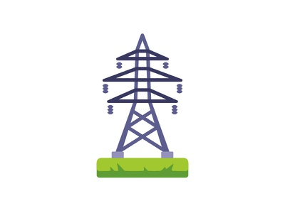 Transmission tower lines power tower transmission electric daily icon illustration vector design flat