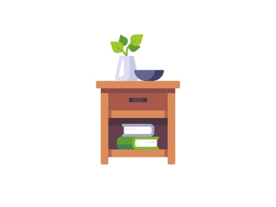 Nightstand furniture table bedside nightstand daily icon illustration vector design flat