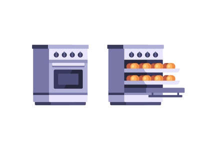 Oven stove baking cooking oven daily icon illustration vector flat design