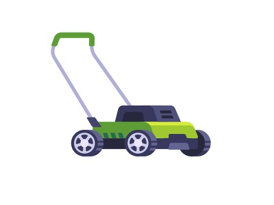 Lawnmower grass cutter lawnmower daily icon illustration vector design flat