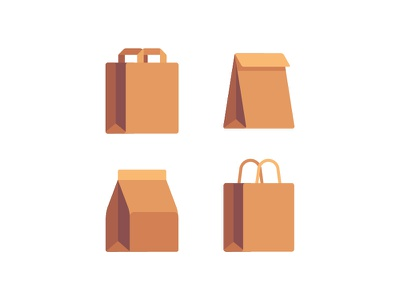 Paper bags recycled packaging bag paper brown daily icon illustration vector flat design