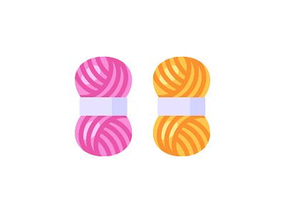 Yarn knitting thread yarn daily icon illustration vector flat design