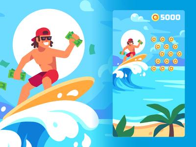 Surfer ad summer surfer mobile game illustration vector flat design
