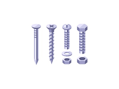Fasteners screw bolt nail fastener daily icon illustration vector design flat