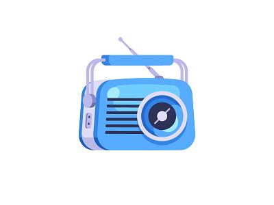 Radio vintage old retro radio daily icon illustration vector design flat