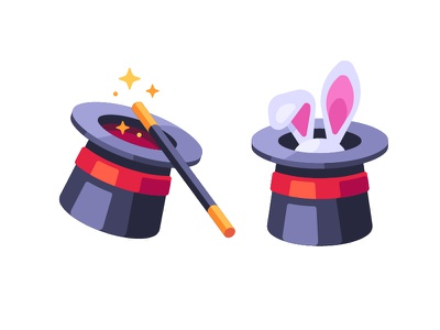 Magician's hat wand bunny hat magician magic trick daily icon illustration vector design flat