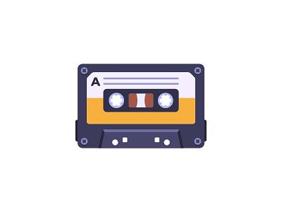 Cassette tape retro mix tape cassette daily icon illustration vector design flat