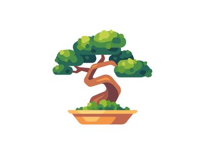 Bonsai tree bonsai daily icon illustration vector design flat