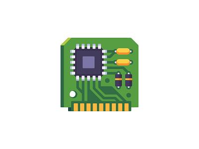 Circuit board computer circuit board daily icon illustration vector design flat