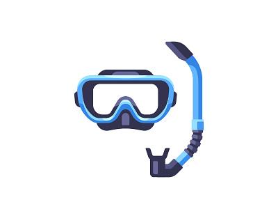 Snorkel snorkel mask equipment swimming diving scuba daily icon illustration vector design flat