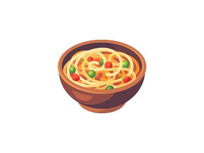 Noodles food pasta noodles daily icon illustration vector design flat