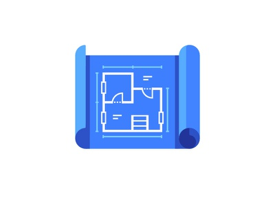 Blueprint building plan blueprint daily icon illustration vector design flat