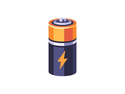 Battery electric battery daily icon illustration vector design flat