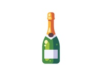 Champagne champagne bottle daily icon illustration vector design flat