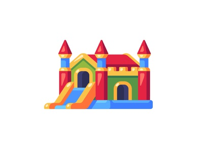 Bouncy castle playground bouncy castle daily icon illustration vector design flat