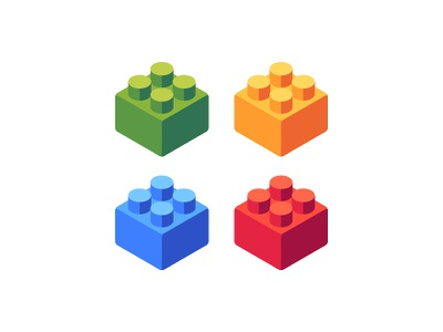 Plastic blocks toy lego plastic blocks daily icon illustration vector design flat