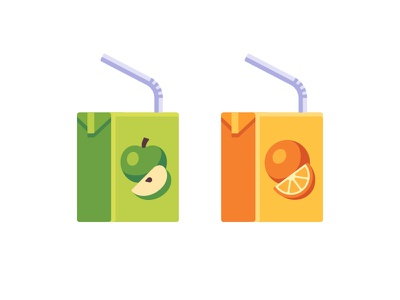 Juice orange apple juice daily icon illustration vector design flat