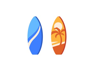 Surfboards surfboard surfing daily icon illustration vector design flat