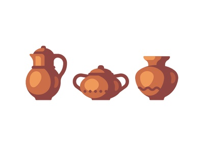 Pottery clay pot pottery daily icon illustration vector design flat