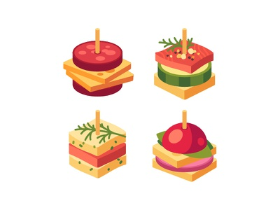 Appetizers appetizer food daily icon illustration vector design flat
