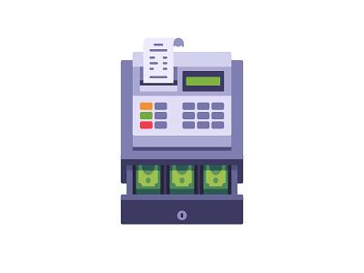 Cash register cash register daily icon illustration vector design flat