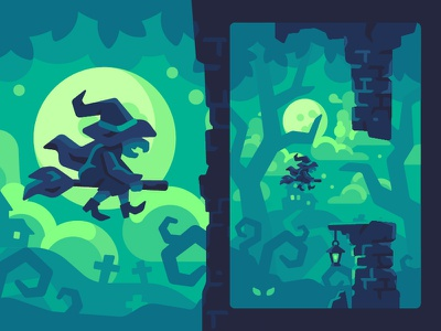 Flappy Witch halloween witch game illustration vector design flat