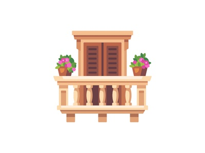 Balcony balcony daily icon illustration vector design flat