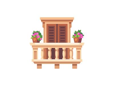 Balcony balcony daily icon illustration vector design flat