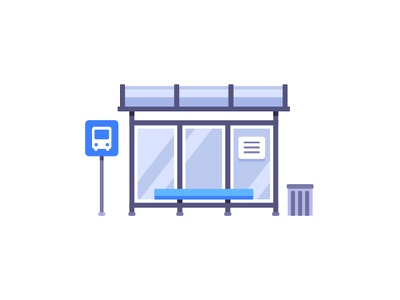 Bus stop bus stop daily icon illustration vector design flat