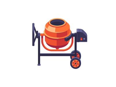 Cement mixer construction cement mixing daily icon illustration vector design flat