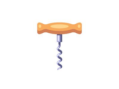 Corkscrew corkscrew daily icon illustration vector design flat