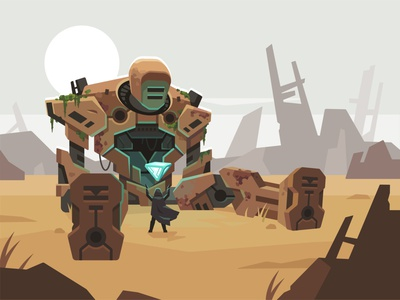 March of robots #1 - Element post apocalyptic wasteland robot challenge march of robots illustration vector