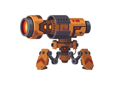 March of robots #2 - Cannon rusty cannon robot march of robots character illustration vector